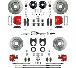 "Right Stuff 4 Wheel 2"" Drop Big Brake Manual Disc Conversion Kit with a Chrome & Master Cylinder, Spindles, Drilled & Slotted Rotors, Red Twin Piston Calipers and Stainless Hoses for 64-72 GM A-Body, 67-69 F-Body and 68-74 Nova with Non-Staggered Rear Shocks. AFXSD51DZX"