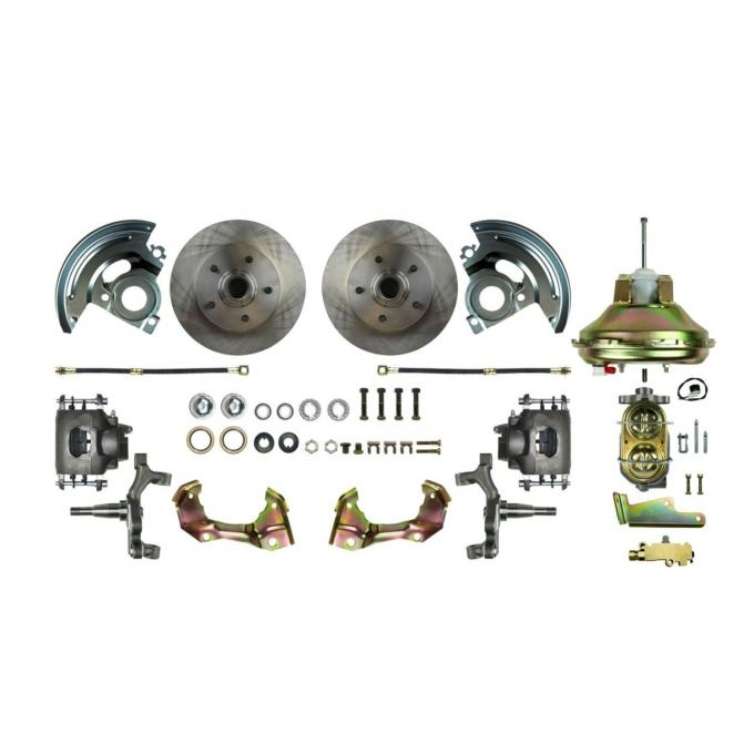 Right Stuff Rear Disc Brake Conversion Kit with Drilled & Slotted Rotors, Natural Finish Calipers, Hoses, E-Brake Cables & more for 67 Camaro and 64-72 GM A-Body with Non-Staggered Shocks. AFXDS01