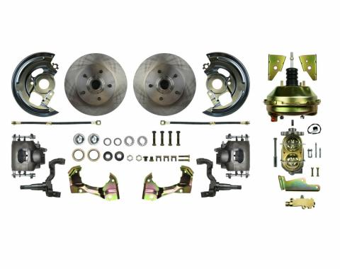 "Right Stuff Power Front Stock Height Disc Brake Conversion Kit with 9"" Brake Booster & Master Cylinder, Standard Rotors and Natural Finish Calipers for 64-72 GM A-body. AFXDC01C"