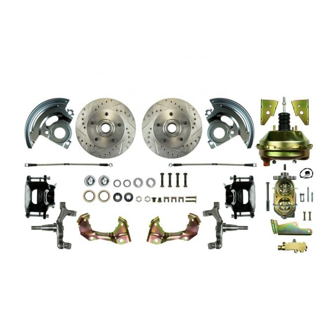 """Right Stuff Power Front 2"""" Drop Disc Brake Conversion Kit with 9"""" Brake Booster & Master Cylinder, Drilled and Slotted rotors, Black Powder Coated Calipers and Stainless Hoses for 64-72 GM A-body. AFXDC01DS"""