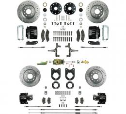 "Right Stuff 4 Wheel 2"" Drop Big Brake Manual Disc Conversion Kit with a Master Cylinder & Valve, Spindles, Drilled & Slotted Rotors, Black Twin Piston Calipers and Stainless Hoses for 64-72 GM A-Body, 67-69 F-Body and 68-74 Nova with Non-Staggered Rear Shocks. AFXSD51DS"