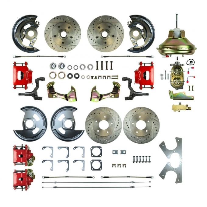"Right Stuff 4 Wheel Stock Height Power Disc Brake Conversion with an 11"" Booster, Master Cylinder & Valve, Spindles, Drilled & Slotted Rotors, Red Powder Coated Calipers, Stainless Hoses and more for 67-72 GM A-Body with Non-Staggered Rear Shocks. AFXDC46CZ"