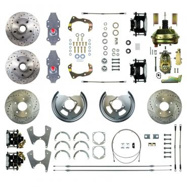 """Right Stuff 4 Wheel 2"""" Drop Power Disc Brake Conversion with an 11"""" Booster, Master Cylinder & Valve, Spindles, Standard Rotors, Natural Finish Calipers, Hoses and more for 67-72 GM A-Body with Non-Staggered Rear Shocks. AFXDC46D"""