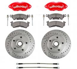 Right Stuff Performance Series Replacement Brake Kit with Red Wilwood Dual Piston Calipers, Drilled & Slotted Rotors and Stainless Hoses for 69-72 GM A-body, 69 F-Body and 69-74 Nova. RCP69Z