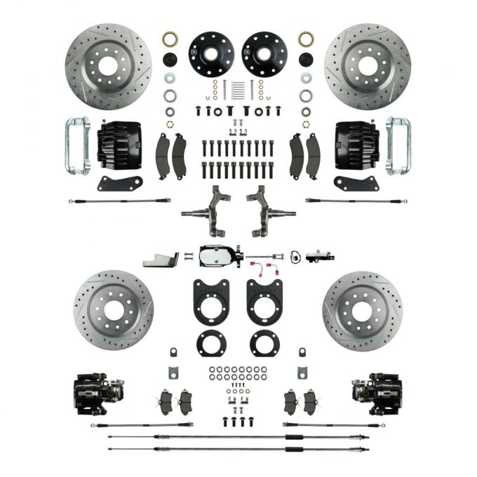 Right Stuff 4 Wheel Stock Height Manual Disc Brake Conversion with a Chrome Master Cylinder & Valve, Spindles, Drilled & Slotted Rotors, Black Powder Coated Calipers, Hoses, Backing Plates & Caliper Brackets for 64-72 GM A-Body with Non-Staggered Rear Shocks. AFXSD41CSX
