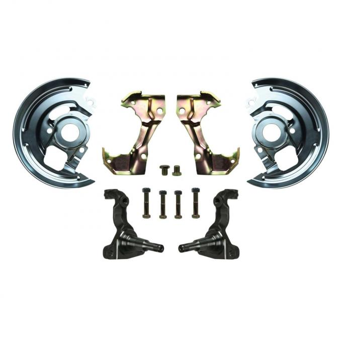 Right Stuff Stock Height Mini Disc Brake Conversion Kit with Spindles, Four Piston Caliper Brackets & Backing Plates for 64-72 GM A-Body, 67-69 F-Body and 68-74 Nova. AFXMD3