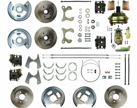 "Right Stuff 4 Wheel Stock Height Power Disc Brake Conversion with a 9"" Booster, Master Cylinder & Valve, Spindles, Standard Rotors, Natural Finish Calipers, Hoses and more for 59-64 Chevy car. FSC594DCC"