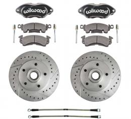 Right Stuff Performance Series Replacement Brake Kit with Black Wilwood Dual Piston Calipers, Drilled & Slotted Rotors and Stainless Hoses for 69-72 GM A-body, 69 F-Body and 69-74 Nova. RCP69S