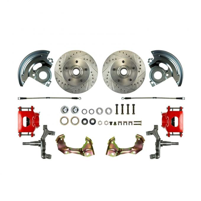 """Right Stuff 2"""" Drop Front Wheel Kit with Spindles, Drilled & Slotted Rotors, Black Powder Coated Calipers, Stainless Hoses, Backing Plates & Caliper Brackets for 64-72 GM A-Body. AFXWK01DS"""