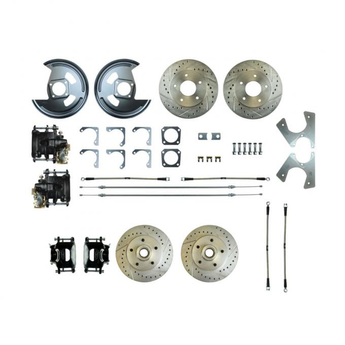 Right Stuff Rear +2 Disc Brake Conversion Kit with 4 Drilled & Slotted Rotors, 4 Black Powder Coated Calipers, Braided Hoses & with Parking Brake Cable for 73-77 GM A-Body. A73RD01S