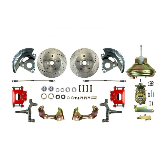 """Right Stuff Power Front 2"""" Drop Disc Brake Conversion Kit with an 11"""" Brake Booster & Master Cylinder, Drilled and Slotted Rotors, Red Powder Coated Calipers and Stainless Hoses for 67-72 GM A-Body. AFXDC06DZ"""