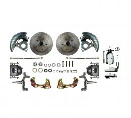 "Right Stuff Manual Front 2"" Drop Disc Brake Conversion Kit with a Chrome Master Cylinder & Valve, Standard Rotors and Natural Finish Calipers for 64-72 GM A-body. AFXSD01DX"