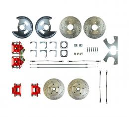 Right Stuff Rear +2 Disc Brake Conversion Kit with 4 Drilled & Slotted Rotors, 4 Red Powder Coated Calipers, Braided Hoses & with Parking Brake Cable for 69-72 GM A-Body. A69RD01Z