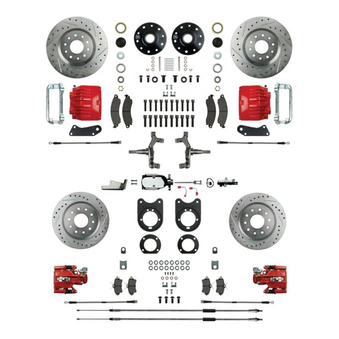 """Right Stuff 4 Wheel 2"""" Drop Manual Disc Brake Conversion with a Chrome Master Cylinder & Valve, Spindles, Drilled & Slotted Rotors, Red Powder Coated Calipers, Hoses, Backing Plates & Caliper Brackets for 64-72 GM A-Body with Non-Staggered Rear Shocks. AFXSD41DZX"""