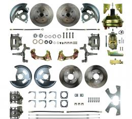 """Right Stuff 4 Wheel 2"""" Drop Power Disc Brake Conversion with a 9"""" Booster, Master Cylinder & Valve, Spindles, Standard Rotors, Natural Finish Calipers, Hoses and more for 64-72 GM A-Body with Non-Staggered Rear Shocks. AFXDC41D"""