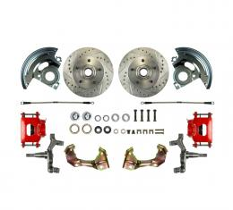 """Right Stuff 2"""" Drop Front Wheel Kit with Spindles, Drilled & Slotted Rotors, Red Powder Coated Calipers, Stainless Hoses, Backing Plates & Caliper Brackets for 64-72 GM A-Body. AFXWK01DZ"""