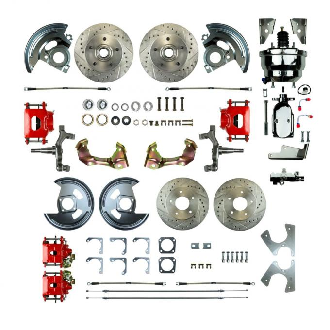 "Right Stuff 4 Wheel 2"" Drop Power Disc Brake Conversion with a Chrome 8"" Dual Booster, Master Cylinder & Valve, Spindles, Drilled & Slotted Rotors, Red Powder Coated Calipers, Stainless Hoses and more for 64-72 GM A-Body with Non-Staggered Rear Shocks. AFXDC41DZX"