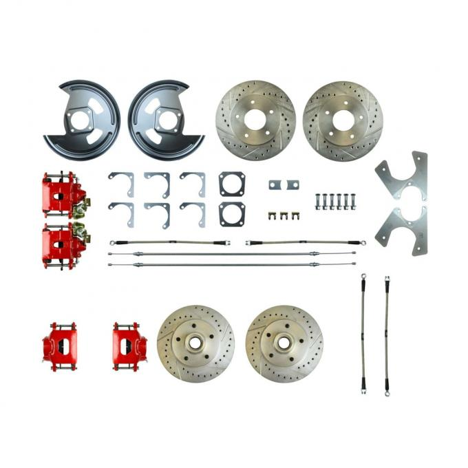 Right Stuff Rear +2 Disc Brake Conversion Kit with 4 Drilled & Slotted Rotors, 4 Red Powder Coated Calipers, Braided Hoses & with Parking Brake Cable for 73-77 GM A-Body. A73RD01Z