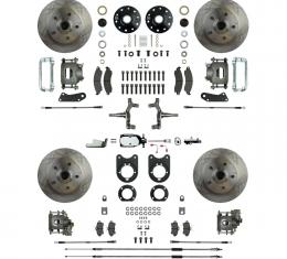 Right Stuff 4 Wheel Stock Height Manual Disc Brake Conversion with a Chrome Master Cylinder & Valve, Spindles, Standard Rotors, Natural Finish Calipers, Hoses, Backing Plates, Caliper Brackets for 64-72 GM A-Body with Non-Staggered Rear Shocks. AFXSD41CX