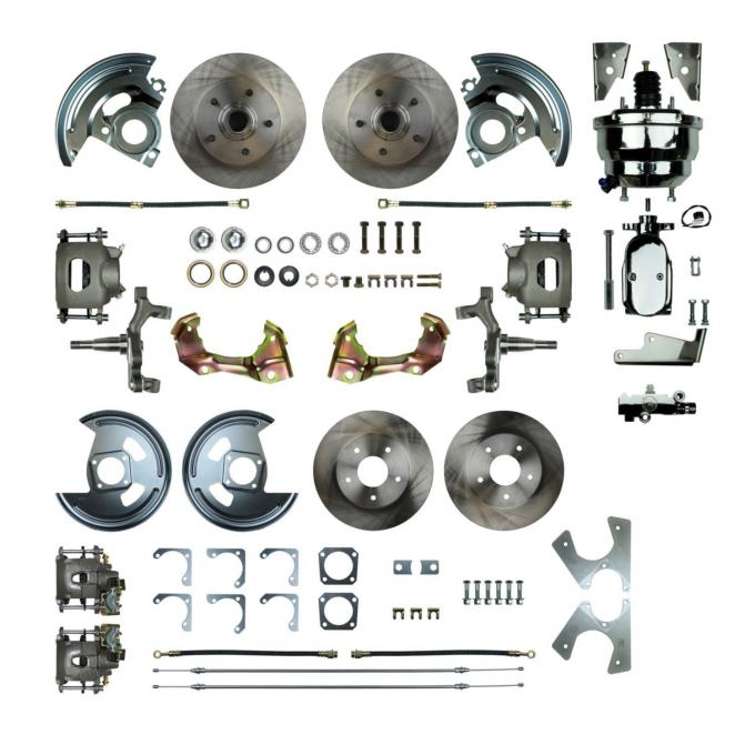 """Right Stuff 4 Wheel 2"""" Drop Power Disc Brake Conversion with a Chrome 8"""" Dual Booster, Master Cylinder & Valve, Spindles, Standard Rotors, Natural Finish Calipers, Hoses and more for 64-72 GM A-Body with Non-Staggered Rear Shocks. AFXDC41DX"""