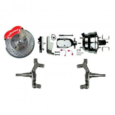 "Right Stuff Power Front 2"" Drop Disc Brake Conversion Kit with Red Wilwood Dual Piston Calipers, Chrome 8"" Dual Brake Booster & Master Cylinder, Drilled & Slotted Rotors, Stainless Hoses & more for 64-72 GM A-Body, 67-69 F-Body and 68-74 Nova AFXDC32DZX"