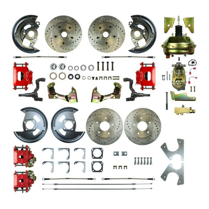 """Right Stuff 4 Wheel Stock Height Power Disc Brake Conversion with a 9"""" Booster, Master Cylinder & Valve, Spindles, Drilled & Slotted Rotors, Red Powder Coated Calipers, Stainless Hoses and more for 64-72 GM A-Body with Non-Staggered Rear Shocks. AFXDC41CZ"""