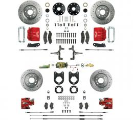 Right Stuff 4 Wheel Stock Height Manual Disc Brake Conversion with a Master Cylinder & Valve, Spindles, Drilled & Slotted Rotors, Red Powder Coated Calipers, Hoses, Backing Plates & Caliper Brackets for 64-72 GM A-Body with Non-Staggered Rear Shocks. AFXSD41CZ