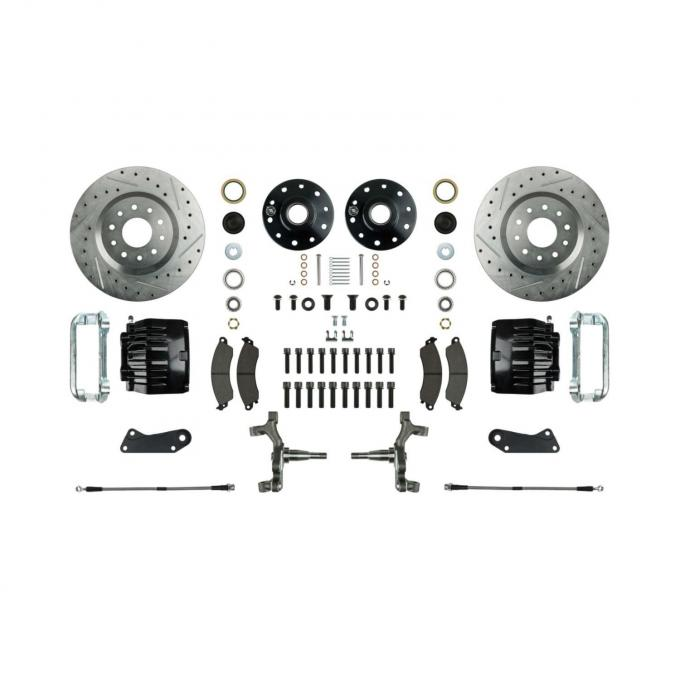 """Right Stuff 2"""" Drop Front Wheel Kit with Spindles, Drilled & Slotted Rotors, Black Twin Piston Calipers and Stainless Hoses for 64-72 GM A-Body, 67-69 F-Body and 68-74 Nova. AFXWK31DS"""