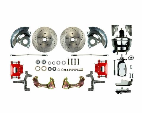 """Right Stuff Power Front 2"""" Drop Disc Brake Conversion Kit with a Chrome 8"""" Dual Brake Booster and Master Cylinder & Valve, Drilled and Slotted rotors, Red Powder Coated Calipers and Stainless Hoses for 64-72 GM A-body. AFXDC01DZX"""