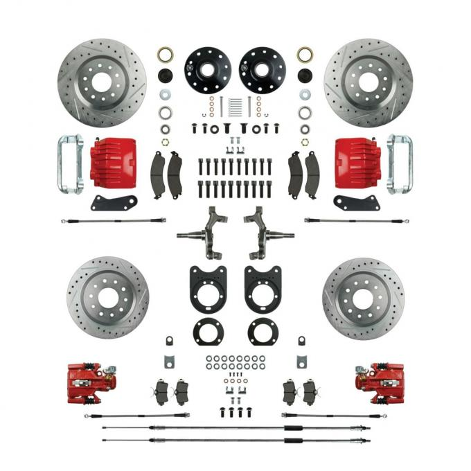"""Right Stuff 2"""" Drop 4 Wheel Kit with Spindles, Drilled & Slotted Rotors, Red Twin Piston Calipers and Stainless Hoses for 64-72 GM A-Body, 67-69 F-Body and 68-74 Nova with Non-Staggered Shocks. AFXWK51DZ"""