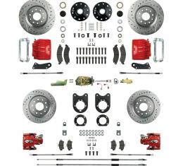 Right Stuff 4 Wheel Stock Height Big Brake Manual Disc Conversion Kit with a Master Cylinder & Valve, Spindles, Drilled & Slotted Rotors, Red Twin Piston Calipers and Stainless Hoses for 64-72 GM A-Body, 67-69 F-Body and 68-74 Nova with Non-Staggered Rear Shocks. AFXSD51CZ