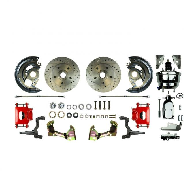"""Right Stuff Power Front Stock Height Disc Brake Conversion Kit with a Chrome 8"""" Dual Brake Booster and Master Cylinder & Valve, Drilled and Slotted rotors, Red Powder Coated Calipers and Stainless Hoses for 64-72 GM A-body. AFXDC01CZX"""