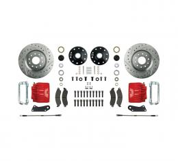 Right Stuff Stock Height Front Big Brake Wheel Kit with Drilled & Slotted Rotors, Red Twin Piston Calipers, Stainless Hoses, Caliper Brackets and more for 64-72 GM A-Body, 67-69 F-Body and 68-74 Nova. AFXWK31CZ