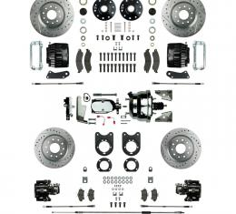 Right Stuff Power Big Brake 4 Wheel Kit with Chrome Booster, 4 Black Twin Piston Clprs & more AFXDC51CSX