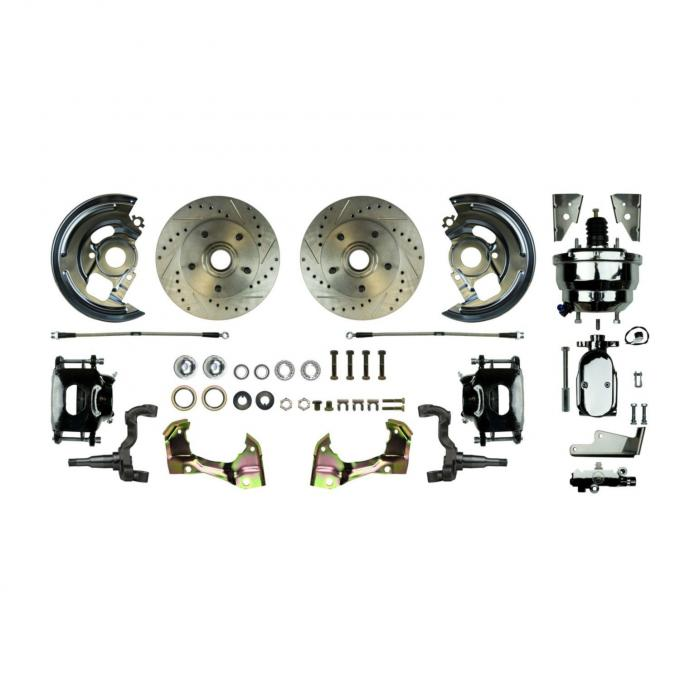 """Right Stuff Power Front Stock Height Disc Brake Conversion Kit with a Chrome 8"""" Dual Brake Booster and Master Cylinder & Valve, Drilled and Slotted rotors, Black Powder Coated Calipers and Stainless Hoses for 64-72 GM A-body. AFXDC01CSX"""