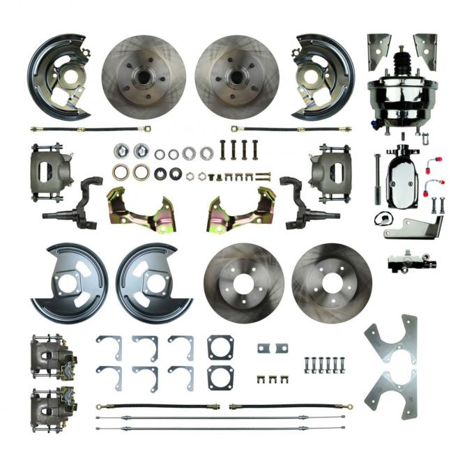 """Right Stuff 4 Wheel Stock Height Power Disc Brake Conversion with a Chrome 8"""" Dual Booster, Master Cylinder & Valve, Spindles, Standard Rotors, Natural Finish Calipers, Hoses and more for 67-72 GM A-Body with Non-Staggered Rear Shocks. AFXDC46CX"""