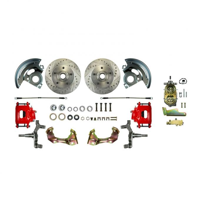 Right Stuff Manual Front Disc Brake Conversion Kit with Drilled and Slotted rotors, Red Powder Coated Calipers and Stainless Hoses for 64-72 GM A-body. AFXSD01CZ