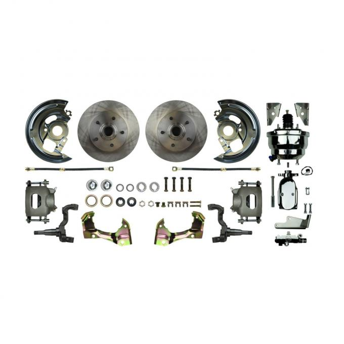 """Right Stuff Power Front Stock Height Disc Brake Conversion Kit with a Chrome 8"""" Dual Brake Booster and Master Cylinder & Valve, Standard Rotors and Natural Finish Calipers for 64-72 GM A-body. AFXDC01CX"""