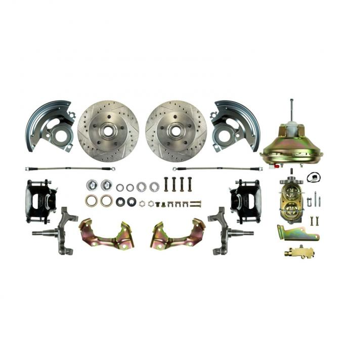 """Right Stuff Power Front 2"""" Drop Disc Brake Conversion Kit with an 11"""" Brake Booster & Master Cylinder, Drilled and Slotted Rotors, Black Powder Coated Calipers and Stainless Hoses for 67-72 GM A-Body. AFXDC06DS"""