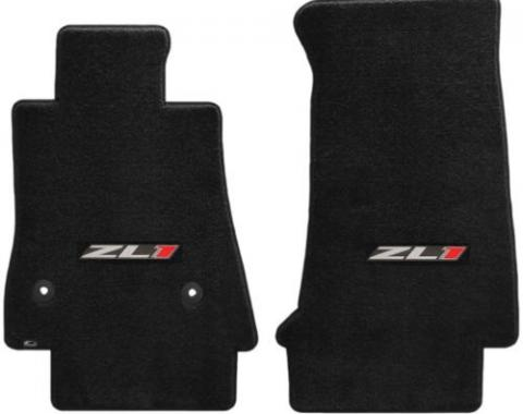 Camaro Floor Mats, 2 Piece Lloyd® Velourtex™, with Camaro ZL1, Ebony, 2016-2019