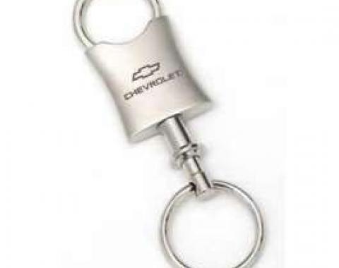 Key Ring, Satin/Chrome, With Chevrolet & Bowtie Logo