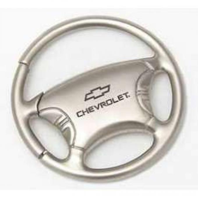 Key Ring, Steering Wheel, Satin/Chrome, With Chevrolet & Bowtie Logo