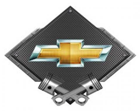 Chevrolet Outlined Bowtie Metal Sign, Black Carbon Fiber, Crossed Pistons, 25 X 19