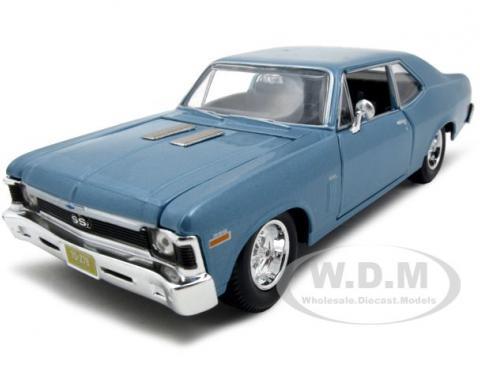 1970 Chevrolet Nova SS Coupe Blue 1/24 Diecast Model Car