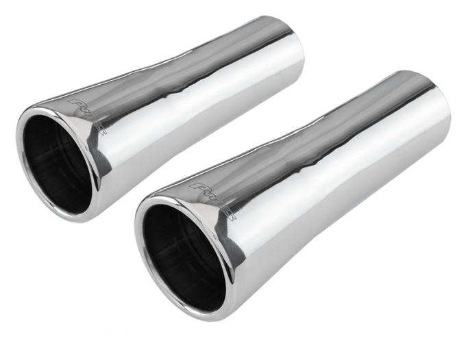 Pypes Exhaust Tail Pipe Tip Set 66-68 GTO 2.5 in To 3.5 in Slip Fit Trumpet Clamp On Hardware Not Incl Polished 304 Stainless Steel Pair Exhaust EVT40