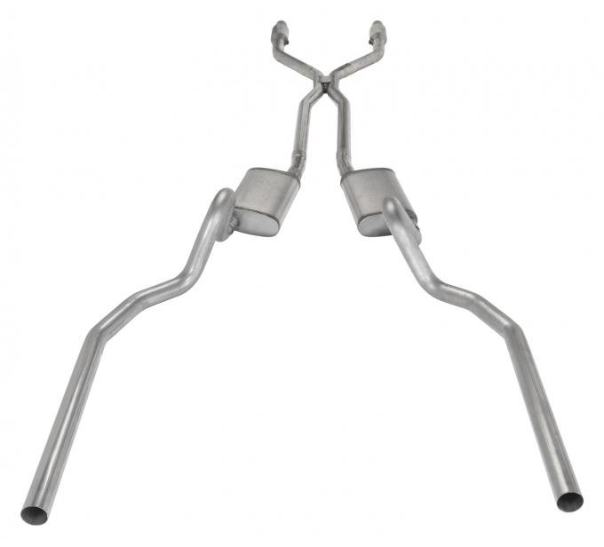 Pypes Crossmember Back w/H-Pipe Exhaust System 78-88 El Camino SS Split Rear Dual Exit 2.5 in Intermediate And Stainless Steel Tail Pipe Muffler And Tip Not Incl Natural Finish 409 Stainless Steel Catalytic Converter Incl Exhaust SGG942E