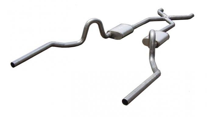 Pypes Crossmember Back w/X-Pipe Exhaust System 64-72 A-Body Split Rear Dual Exit 2.5 in Intermediate And Tail Pipe Violator Mufflers/Hardware Incl Tip Not Incl Exhaust SGA10V