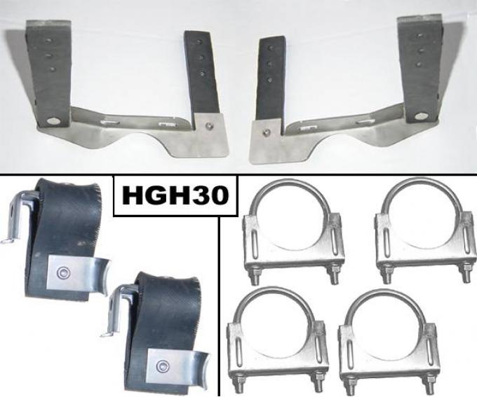 Pypes Exhaust System Hanger Kit 64-72 GTO Incl Pair Muffler Hangers/Tailpipe Hangers/(4) 2.5 in U Clamps Natural 304 Stainless Steel Exhaust HGH30
