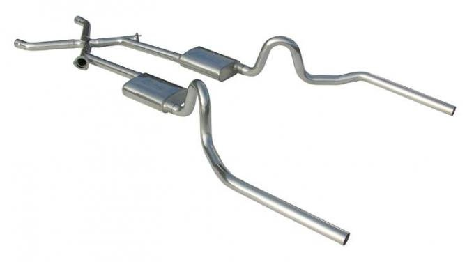 Pypes Crossmember Back w/Xchange Exhaust System 64-72 A-Body Split Rear Dual Exit 2.5 intermediate And Tail Pipe Hardware Incl Muffler And Tip Not Incl 409 Stainless Steel Exhaust SGA11
