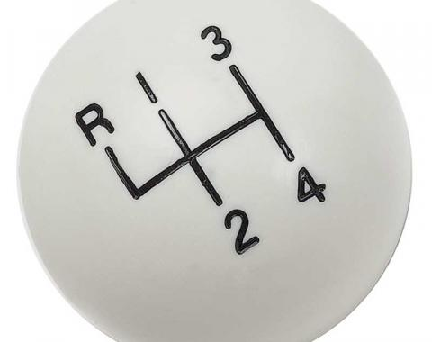 "OER White 4-Speedshift Knob with 3/8""-16 Thread 3961437W"